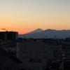 横浜から見る富士山と夕焼け