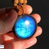 レア・希少!まんまる宇宙のお守りを身につけたいあなたへ!キラキラ×シルバーシーン×深いブルー!BIGラブラドライト×9面&ガネーシャの高品質ルドラクシャマーラーペンダント第5・6チャクラ対応