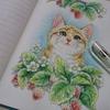 完成☆透明水彩+色鉛筆で猫と苺のページ