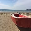 日本海を望む砂浜でいよいよ・・・。