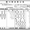 Bel Japon株式会社 第14期決算公告