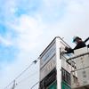 桑名市で三角塔の版面を交換しました