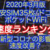 2020年3月版:格安SIM35枚/ドコモ/ポケットWiFiの速度ランキング、新型コロナで速度改善? 楽天モバイルMNO、FUJI WiFi、LINEモバイルの新プランのドコモ回線を追加