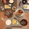 ごはん、ししゃも、枝豆入り玉子焼き、豆腐屋さんの煮物、ナスと大根のお味噌汁