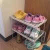 【収納アイディア】ダイソーの積み重ね棚で!子供の靴収納