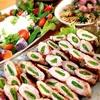 スナップエンドウの肉巻き&ホタルイカと菜花のペペロンチーノ。サワークリームとびん長フレークのサラダ