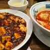 麻婆丼に辛いスープ餃子