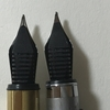 ブラス万年筆と無印良品アルミ丸軸万年筆のペン芯がよく似ている