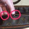 ルイ・ヴィトンの修理;ファスナー交換・ショルダーストラップ付け根の革・内張り交換・・・K's factory