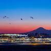 羽田空港 国際線ターミナルと富士山のコラボ