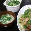 回鍋肉、サラダ、スープ