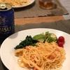 たらこスパゲッティ、ほうれん草の海苔和え、アボカドとミニトマト