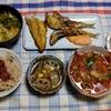 幸運な病のレシピ( 2430 )昼:めざし、塩サバ、サワラ糠漬け、鮭、ハリラースープ(風)