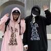 プルオーバーパーカー ヒョウ柄ラビット パッチ 刺繍 ルーズ 韓国ファッション ユニセックス