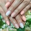 軽やか色で春らしく♡コーラルオレンジ&シアーホワイトのストライプネイル☆ジェル