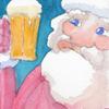 水彩画「サンタと生ビール」