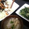小松菜ツナ炒め、ひじきサラダ、味噌汁