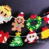 [アイロンビーズ]クリスマスなガーランドのつくりかた☆ひもの通し方がわかる作り方動画!