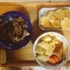 卵茶巾、煮物、茄子豚肉、さつまいも天ぷら