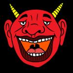 大きく口を開けて笑う赤鬼 のイラスト