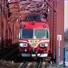 木曽川橋梁から飛び出す。東笠松駅