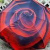 赤薔薇が美しい晴雨兼用折り畳み傘に虜な私・・・★日傘/UVカット/紫外線対策/携帯用傘/軽量/ワンタッチ自動開閉/頑丈アルミ8本骨/バラ ローズ ROSE レッド