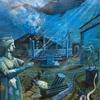 海底の古代遺跡に人気の深海生物が大集合した油絵