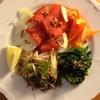 茗荷と生姜と葱とラディッシュの酢味噌和え、根菜とレンティル(レンズ豆)のスパイス煮込み