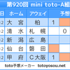 【minitoto920回】【結果】ルヴァン杯は読めないッス