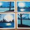 *【水彩画】夜の湖に浮かぶ月*
