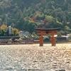 JR西日本宮島フェリー「大鳥居便」に乗船、紅葉の山々・厳島神社を背景に海の上の大鳥居