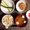 玄米ごはん、きゅうり漬物、小粒納豆。