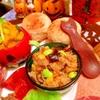 茄子と蓮根と彩り野菜のサンバルライスサラダ