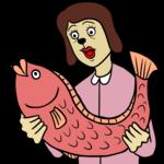 大きな魚を手にする女性 のイラスト