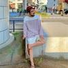 UNIQLOレディース3XLのパネルボーダーシャツ「ボーダーオーバーサイズT(長袖)」が好調です