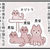 【犬漫画】地震に動じない犬と猫団子