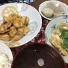 鶏の甘辛揚げ焼き、もやしと鶏ひき肉の卵とじ、松茸のお吸い物(インスタント)