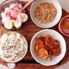 ラタトゥイユパスタ、小粒納豆、バナナギリシャヨーグルト。