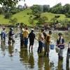 水前寺成趣園で湧水復活願い大掃除