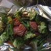 鮭ブロッコリーアスパラホイル焼きと、舞茸トマト白菜のスープ