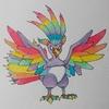 にじくじゃく(ポケモン風) Prism peacock , Pokemon style.