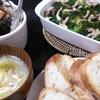 ブロッコリーのアヒージョ、ひじき大根サラダ、レタススープ