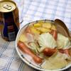 夕食:キャベツ、サツマイモつかってスープ