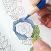 【動画公開】(青色編)ダイソー塗り絵「花の国」を赤・青・黄の3色で塗ってみた。
