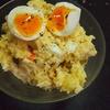 おからパウダーポテサラレシピ半熟卵のせ