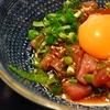 築地の「長生庵」であなご天ぷら、ほたるいか刺身、初がつおユッケ風、菜の花辛子酢味噌和え、もりそば。