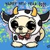 牛の着ぐるみをきたチワワのペット似顔絵