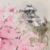 水彩de絵ハガキ 大阪城を行く 1