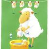 かわいい羊の親子、気持ちいい洗濯日和☀️