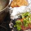 木の芽みそで豚とおにぎりのホイル焼き(焚火調理)ついでに野草汁